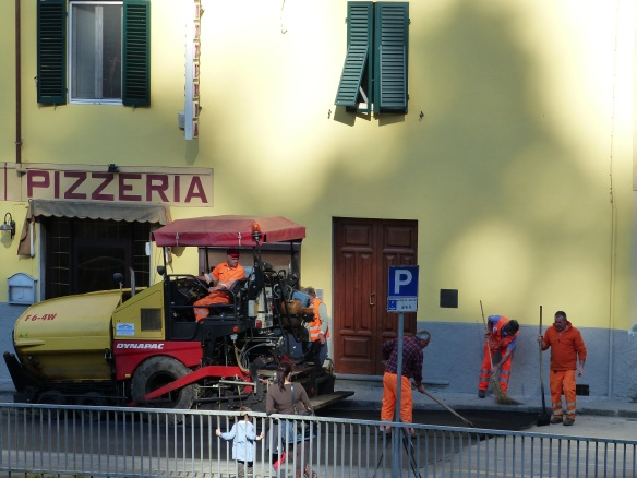 Road works for Giro d'Italia