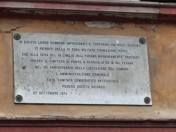 Plaque at Ponte a Serraglio